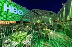HBO Golden Globes After Party by Images by Lighting. A green themed outdoor event with lighting, projections and patterns. This hollywood themed event that centered around the television giant HBO had custom elements throughout. Golden Globes After Party, Golden Design, Italian Garden, Outdoor Venues, Event Lighting, Ceiling Decor, Fashion Room, Unique Photo, Outdoor Walls