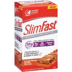 SlimFast Advanced Nutrition Caramel Almond Sea Salt Meal Replacement Bars, 1.59 oz, 4 count