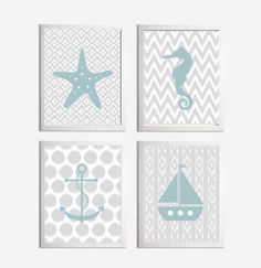 * Set of 4 Ikat Nautical Art Prints *choose colors shown or customize to fit your decor  *frames not included    **more colors available here