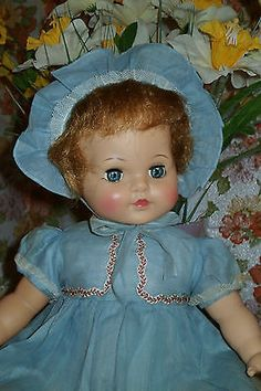 "Ideal  21"" Honeybunch Doll in Old Store Stock Blue Dress and Bonnet Great Doll"