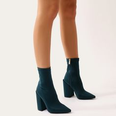 d7395f2d63cf Salt Sock Fit Ankle Boots in Green Stretch · Public DesireStretch  FabricBlock HeelsStretchesAnkle ...