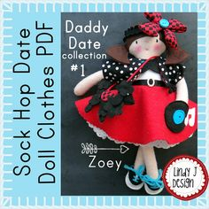 """Felt DOLL Clothes Sewing PDF PATTERN Sock Hop 50's Patterns for 12"""" Felt Zoey Doll. One of 24 outfits by LindyJ Design at Etsy."""
