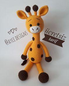 """Instagram'da ayce.designs: """"Merhaba arkadaşlar zürafa tarifini çok soran olmuştu. Sevgiyle örün... Zürafayı ördügünüzde gönderinizde beni de etiketlemeyi…"""" Crochet Animal Patterns, Stuffed Animal Patterns, Amigurumi Toys, Amigurumi Patterns, Amigurumi For Beginners, Punch Needle Patterns, Knitted Animals, Diy Toys, Creative Crafts"""