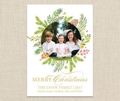 Festive Christmas Photo Card from BrownPaperStudios on Etsy! New Year Greeting Cards, New Year Greetings, Christmas Photo Cards, Christmas Photos, Diy Envelope Liners, Print Packaging, Your Cards, Merry, Frame