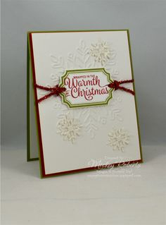"""Blog Post Date:  September 1, 2017.  Thinking of snow for Christmas?   Elements of this card include:  Snowflake Sentiments and Labels to Love stamp sets, Swirly Snowflakes Thinlits and Winter Wonder Textured Impressions Embossing Folder for the Big Shot, Everyday Label and 1/8"""" handheld circle punches, Mini Tinsel Trim Combo Pack (Red), Shimmery White cardstock, Dazzling Diamonds Glimmer Paper, and the colors of Real Red and Old Olive."""