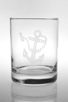Rope and Anchor Etched DOF Glasses - set of 4