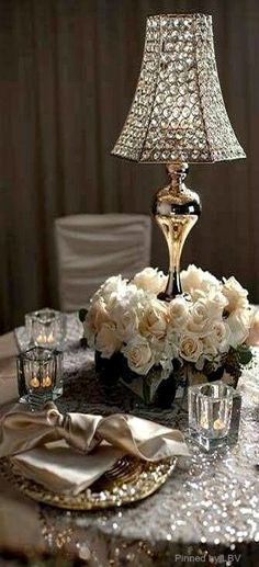 Elegant Dining - Candles, Crystal, Roses & Gold Satin make for a beautiful setting! Beautiful Table Settings, Deco Floral, Floral Design, Elegant Dining, Deco Table, Decoration Table, Tablescapes, Floral Arrangements, Flower Arrangement