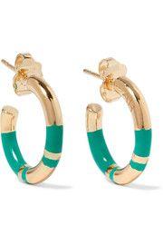 Aurélie Bidermann - Positano enameled gold-plated hoop earrings