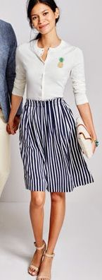 Cute J. Crew Factory outfit - striped skirt with pineapple cardigan