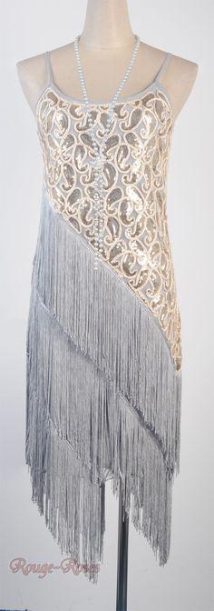 1920's Flapper Party Clubwear Great Gatsby Sequin & Tassel Gray Dress RR DRESS_3226_gray