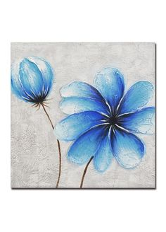 Artistic Strokes Two Blue Flowers Hand Painted Canvas 50x50cm