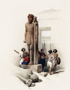 Colossus in front of Temple of Wady Saboua Nubia illustration by David Roberts (1796-1864).   free image by rawpixel.com