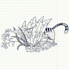 Cute doodle kat in het gras Stockfoto