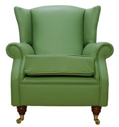 leather wing back chairs | Wing Chair Fireside High Back Leather Armchair Apple Green Leather