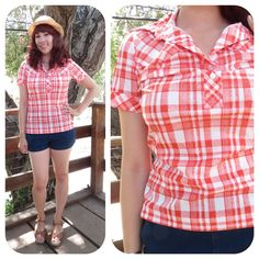 Mod Gingham Collar Blouse Hippie 70s Western Country Red White Plaid Picnic Short Sleeve Patriotic Americana Size Small Medium
