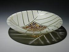 Amber Feathers Bowl by Patti & Dave Hegland (Art Glass Bowl)