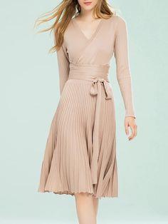 Shop Midi Dresses - Apricot Elegant Cotton-blend Surplice Neck A-line Wrap Dress online. Discover unique designers fashion at StyleWe.com.