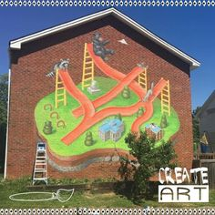 @troubleberger did an awesome job on this #mural in #raleigh Who would love to see more #publicart around town? #art