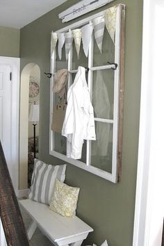 9 pane coat hook by Mommylittleof5 Window frame turned coat rack?? Too cute! This would add another layer of dimension to my crate/ drawer/ window pane wall!! Love.