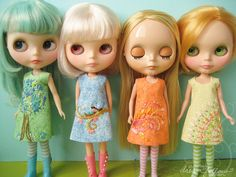 I keep seeing these Blythe dolls and love them.  But these dress designs would be so cute on a 5 year old.