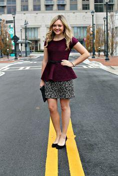 s/s peplum top + short skirt + belt + wedges {Bows & Sequins: Peplum Top + Pencil Skirt}