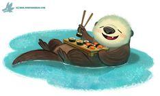 Daily Paint #1104. Sushi Otter, Piper Thibodeau on ArtStation at https://www.artstation.com/artwork/P4z68