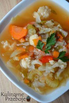 Zupa spalająca tłuszcz – to pyszna zupa wspomagająca przemianę materii, której głównymi składnikiem jest kapusta, która jest bogata w błonnik pokarmowy i zapewnia uczucie sytości. Poza tym znajdziecie w tej zupie seler naciowy, który ma właściwości odchudzające, a także oczyszczające (seler naciowy w 100g ma tylko 17 kcal), a co najważniejsze jest bogatym źródłem witaminy […] Healthy Cooking, Healthy Eating, Vegan Recipes, Cooking Recipes, Dukan Diet, Frugal Meals, Dinner Recipes, Food And Drink, Ethnic Recipes