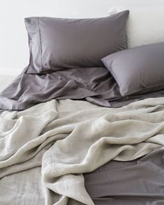 Dove grey bamboo sheets + silver linen throw = two tone perfection   Take 20% off on our Bamboo Dove Grey sheet sets (QUEEN size only)!  Shop via the link in our bio.