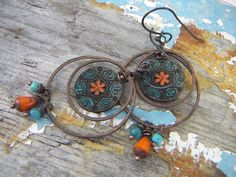 Gypsy Flower Earrings in Copper by annamei on Etsy, $29.00