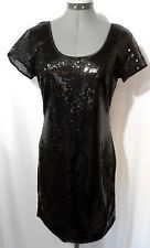 Nwt STITCHbtween SEQUIN Dress womens S M Black scoop neck A-line formal Party SS