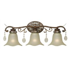 "World Imports Dressy Casual 3 Light Vanity Light  Overall: 8.5"" H x 24.25"" W x 9.25"" D  $143"