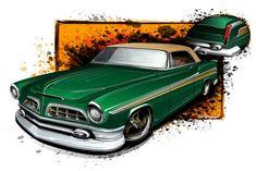 1955 chrysler,custom car, drawing cars