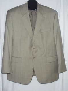 Chaps Ralph Lauren Tan White Blue Windowpane Blazer Jacket Sportcoat Size:44S #LaurenRalphLauren #TwoButton