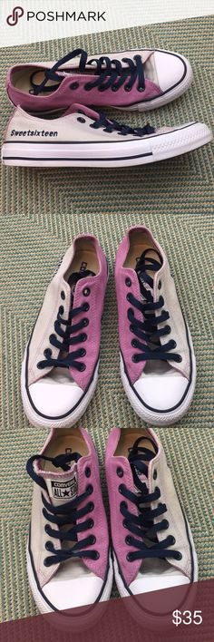 Custom OOAK Converse Sweet 16 Colorblock Shoes 7 Lavender and light gray color block with navy blue trim, laces and 'sweet sixteen' embroidered on the outer  side of each shoe. Women's size 7. Great condition with only minor signs of wear. Custom made via the website. Not another pair like these! Converse Shoes Sneakers