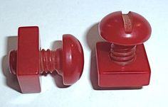 bakelite bolt and nut buttons....love...