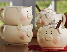 Sada hrníčků na kávu i čaj • porcelán ve tvaru prasátek, byly vyrobeny na přání chovatele prasátek na statku ♥