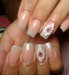 Nails design with flower Fancy Nails, Bling Nails, 3d Nails, Nail Manicure, Trendy Nails, Pastel Nails, Red Nail Designs, Acrylic Nail Designs, Stone Nail Art