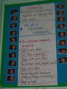 Definitely a great idea to have pictures up of all the students next to the classroom community reminders or classroom norms.