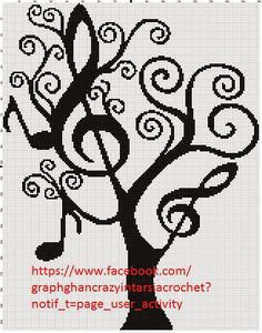Graphghan Crazy Intarsia Crochet - Music Tree Graph