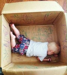 Use a cardboard box as a coloring station for your kids. This will keep them occupied for hours and prevent them from writing on the walls.