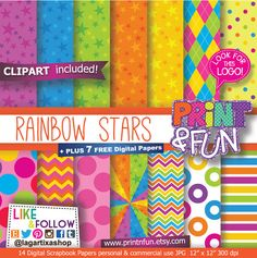#digitalpaper #partyprintables #imprimibles #scrapbooking #backgrounds #patterns #fondos #fiestasinfantiles #fiestastematicas #invitations #invitaciones #partyideas #clipart #png #birthdayparty #backyardigans #Rainbow #Stars #sparkles #chevron Digital Paper Patterns Backgrounds for por Printnfun