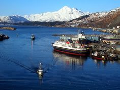 Kodiak, Alaska...such a pretty place!  Look at all that snow on the mountains... Nice!