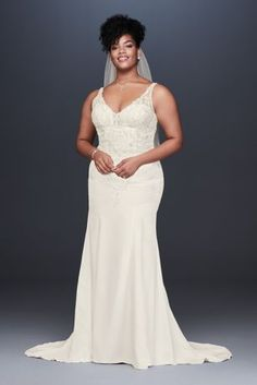 Crepe Embroidered Plus Size Mermaid Wedding Dress 9WG3875
