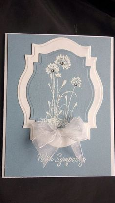 This Buy It Now is for 1 handmade sympathy card. The flowers and With Sympathy on the front have been embossed with white. A white envelope is included and is stamped with With Sympathy. Stampin Up stamp on the envelope, and front of card. Making Greeting Cards, Greeting Cards Handmade, With Sympathy Cards, Tarjetas Stampin Up, Spellbinders Cards, Stamping Up Cards, Get Well Cards, Handmade Birthday Cards, Flower Cards