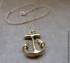 """Золотое ожерелье """"Якорь"""". Символичное украшение с подвеской - золотой"""