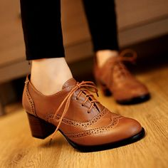 Classic Vintage Brown White Black Leather Carved Chunky Square High Heel Oxford Shoes For Women Plus Size 34 40 41 42 43 9 10 11 $79.52 - 86.05