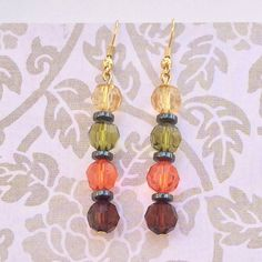 Yellow, Green, Orange & Brown Earings - Autumn Falls - Dangling Beaded Drop Earrings - Elegant Stylish Jewelry by EverydayWomenJewelry on Etsy https://www.etsy.com/listing/214195923/yellow-green-orange-brown-earings-autumn