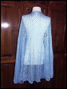 """""""Snowflake Lace Shawl"""" 3/4-circular shawl knit in Ice Blue lace weight (50% wool/50% silk). And although they can't be seen, I've added 2248 (5+ tubes) size 8/0 Silver lined Clear AB beads, 70"""" across x 36"""" long (pattern by Monika Eckert), $140."""
