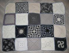 plaid multi-mains,  gris blanc noir