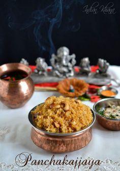 Panchakajjaya Recipe Made with easy 5 ingredients Panchakajjaya is Naivedyam offered during Ganesh Chaturthi and other festival. Indian Dessert Recipes, Indian Sweets, Indian Recipes, My Recipes, Sweet Recipes, Cooking Recipes, Healthy Recipes, Vegetarian Cooking, Recipies